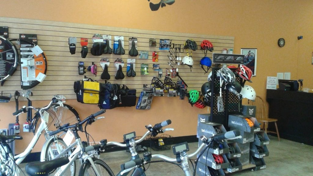 Accessory Wall at Cynergy E-Bikes
