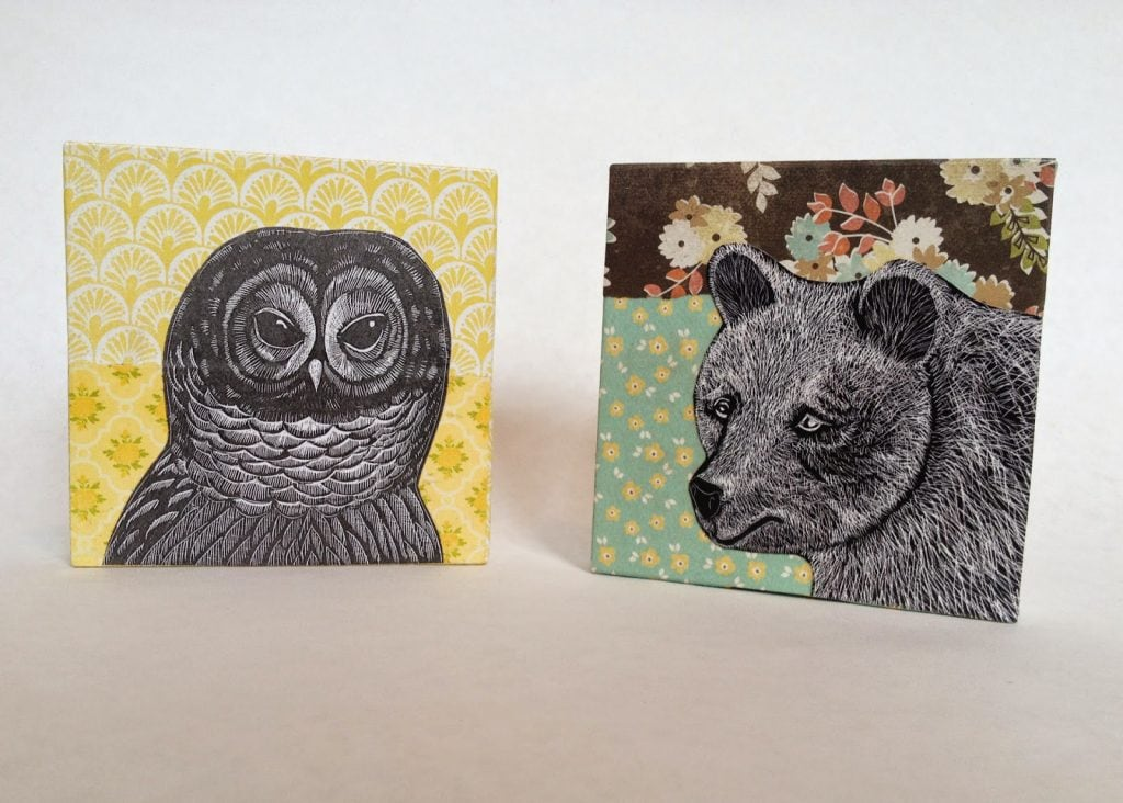 Collage Blocks of Bear and Owl