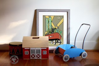 Vegetable toy car and poster