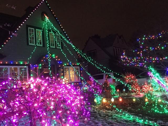 House with Christmas Light Display Peacock Lane